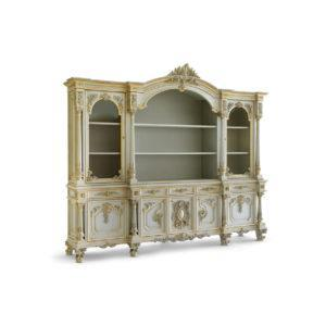 Книжный шкаф Giove ART. 9920/5 BOOKCASE WITH 2 ENGRAVED CRYSTAL DOORS, 5 DRAWERS AND 5 WOODEN DOORS, WOODEN INNER SHELVES