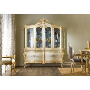 Сервант Dafne ART. 941/B CREDENZA A 4 ANTE, PIANO LEGNO CON CRISTALLO
